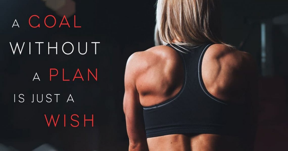 fitness female from the back with fitness goal quote